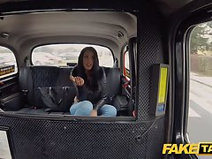Frisky Latin brunette with big tits is sucking a taxi driver's dick, like a pro whore