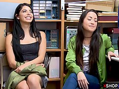 Naughty teen brunettes are about to get fucked to learn their lesson about shoplifting activities