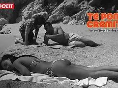 Брутальный качок попросил парня сделать массаж жене-мулатке на пляже