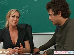 Great looking blonde teacher with big tits, Brandi Love had wild sex with one of her students