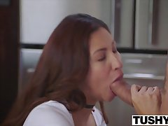 Horny babe likes to let her roommate fuck her tight ass, until they both cum